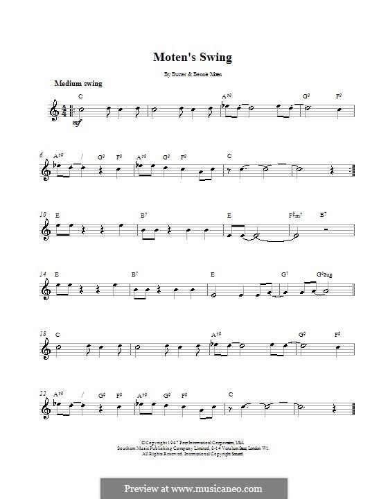 Moten's Swing (Moten and Moten): Melody line, lyrics and chords by Bennie Moten