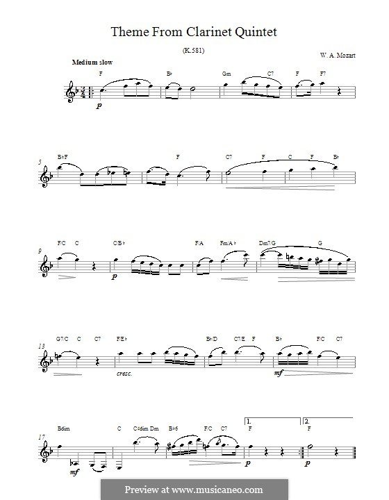 Quintet for Clarinet and Strings in A Major, K.581: Movement II. Melody line and chords by Wolfgang Amadeus Mozart