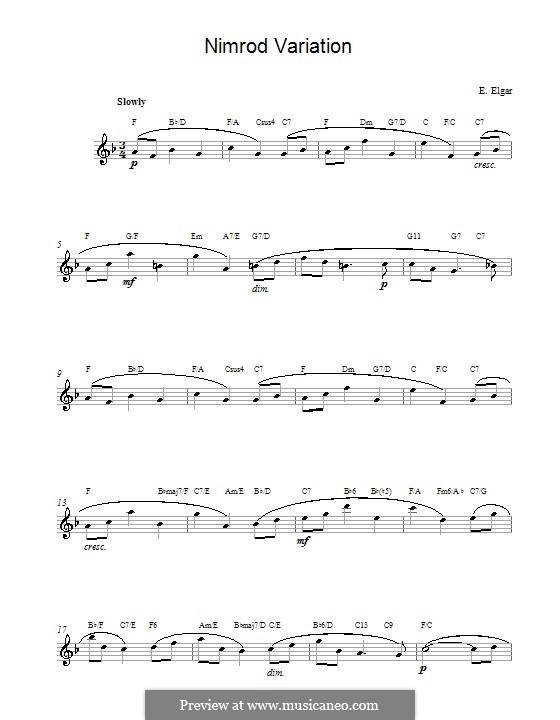 Variation No.9 'Nimrod': Melody line by Edward Elgar