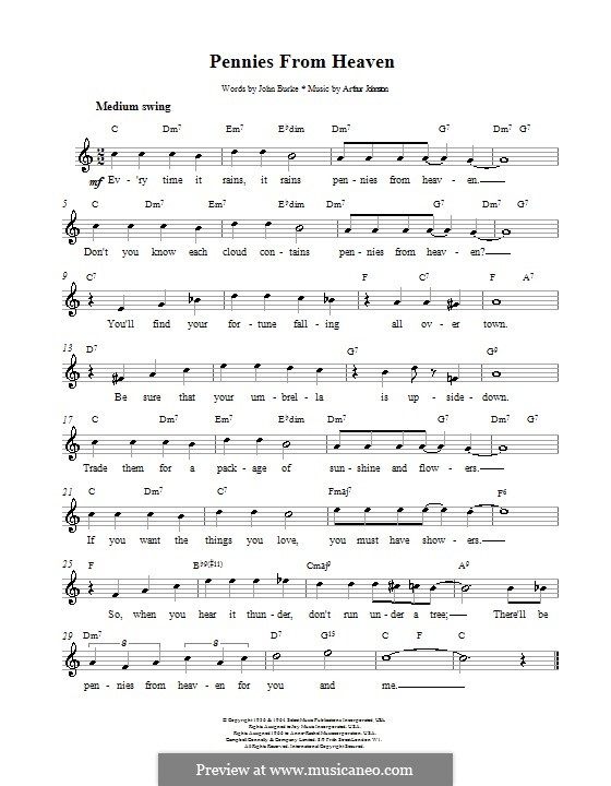 Pennies from Heaven (Bing Crosby) by A. Johnston - sheet music on ...