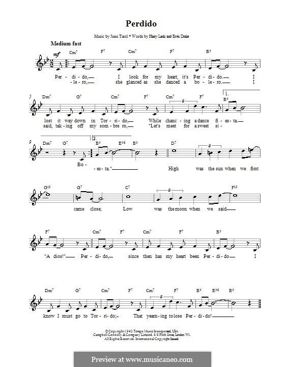 Perdido (Duke Ellington): Melody line, lyrics and chords by Juan Tizol