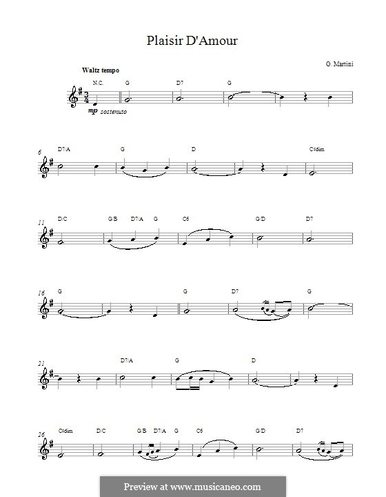 Plaisir d'Amour (The Joys of Love): Lyrics and chords by Jean Paul Egide Martini
