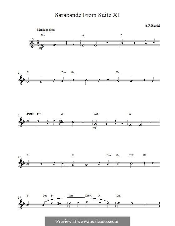 Suite No.4 in D Minor, HWV 437: Sarabande. Melodic line with chords by Georg Friedrich Händel