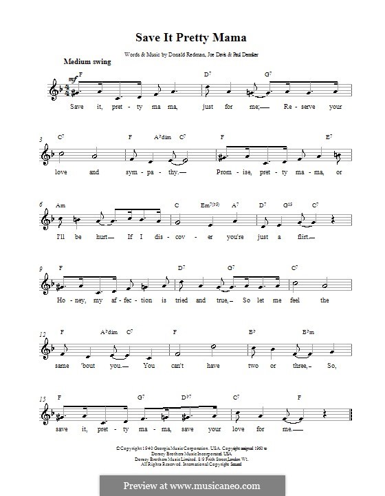 Save It Pretty Mama (Louis Armstrong): Melody line, lyrics and chords by Donald Redman