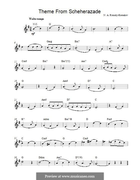 Scheherazade, Op.35: Theme (melody line) by Nikolai Rimsky-Korsakov
