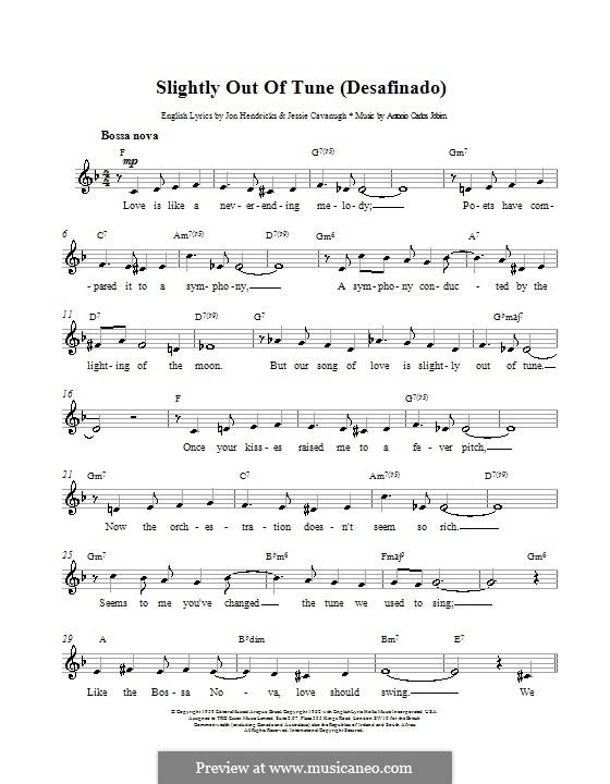 Desafinado (Slightly Out of Tune): Melody line, lyrics and chords by Antonio Carlos Jobim