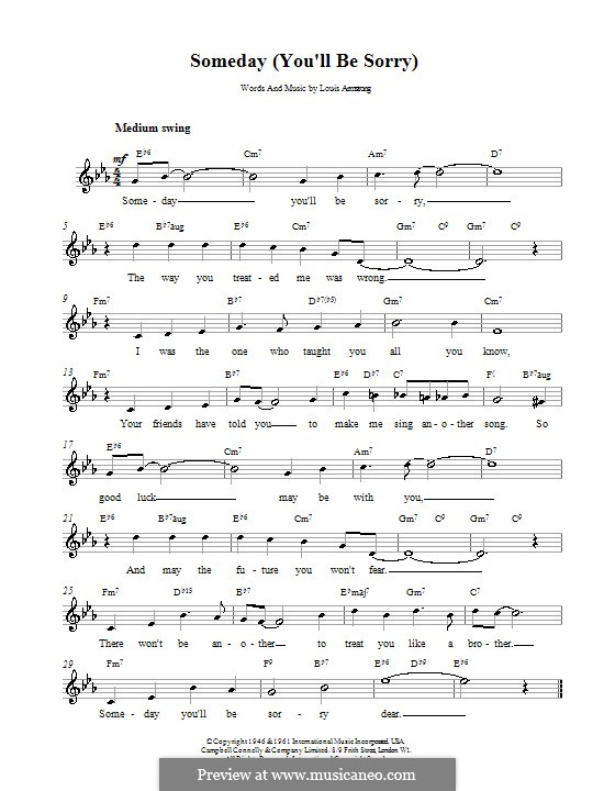 Someday (You\'ll Be Sorry) by L. Armstrong - sheet music on MusicaNeo