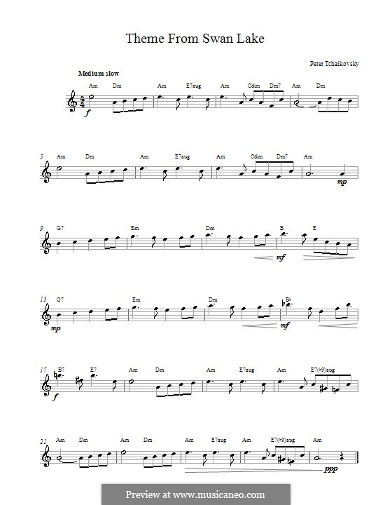 No.14 Scène: Melody line (Theme) by Pyotr Tchaikovsky