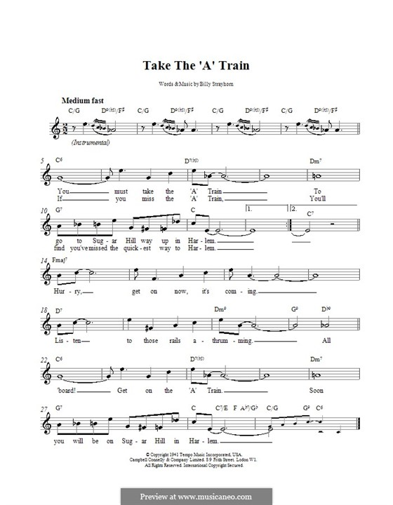 Take the \'A\' Train (Duke Ellington) by B. Strayhorn on MusicaNeo
