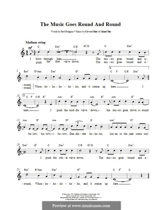 The Music Goes Round and Around (Tommy Dorsey): Melody line, lyrics and chords by Edward Farley, Michael Riley