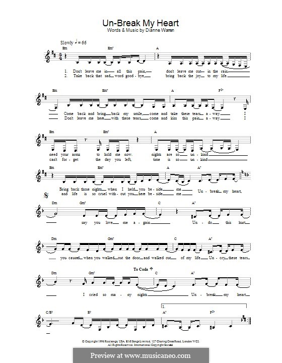 Un-Break My Heart (Toni Braxton): Melody line, lyrics and chords by Diane Warren