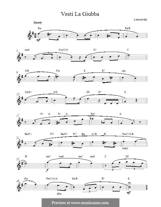 Pagliacci: Vesti la Giubba. Melody line, lyrics and chords by Ruggero Leoncavallo