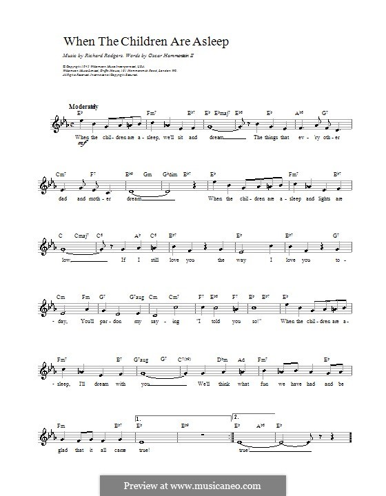 When The Children Are Asleep From Carousel By R Rodgers On Musicaneo