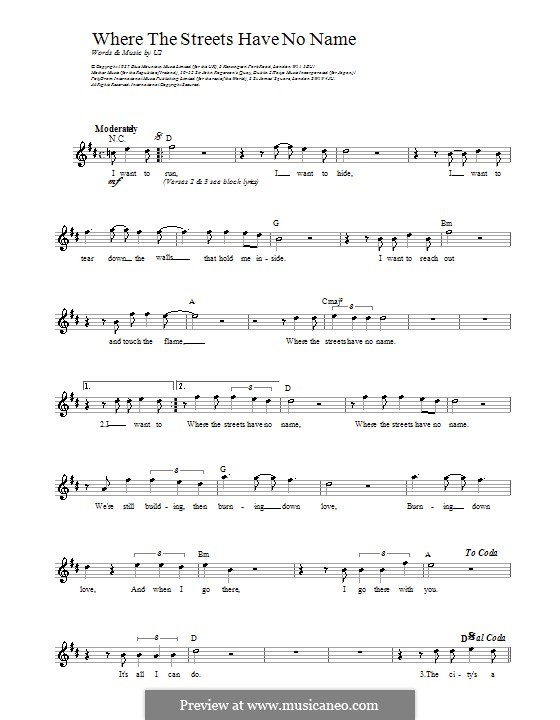 Where the Streets Have no Name: Melody line, lyrics and chords by U2