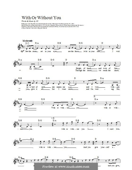 With or without You: Melody line, lyrics and chords by U2