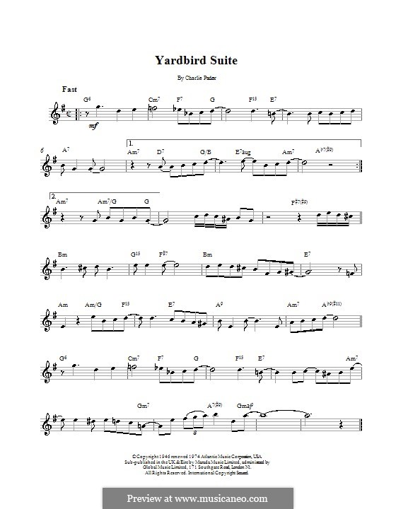 Yardbird Suite: Melody line, lyrics and chords by Charlie Parker