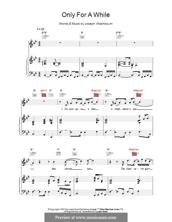 Only for a While (Toploader): For voice and piano (or guitar) by Joseph Washbourn