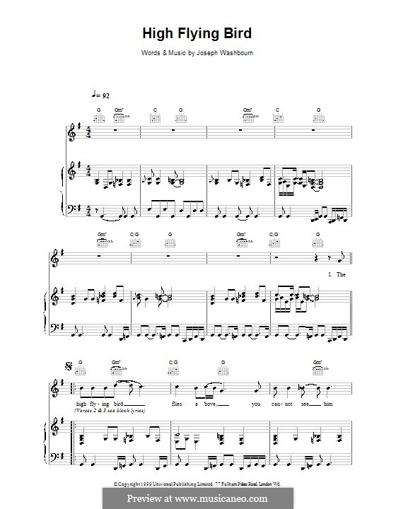 High Flying Bird (Toploader): For voice and piano (or guitar) by Joseph Washbourn