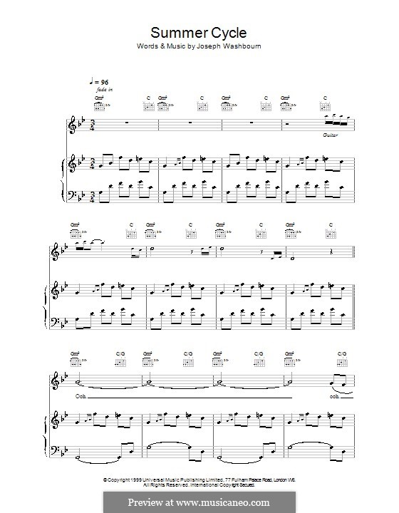 Summer Cycle (Toploader): For voice and piano (or guitar) by Joseph Washbourn