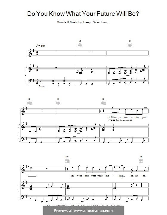 Do You Know What Your Future Will Be? (Toploader): For voice and piano (or guitar) by Joseph Washbourn