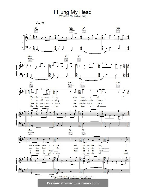 I Hung My Head By Sting Sheet Music On Musicaneo