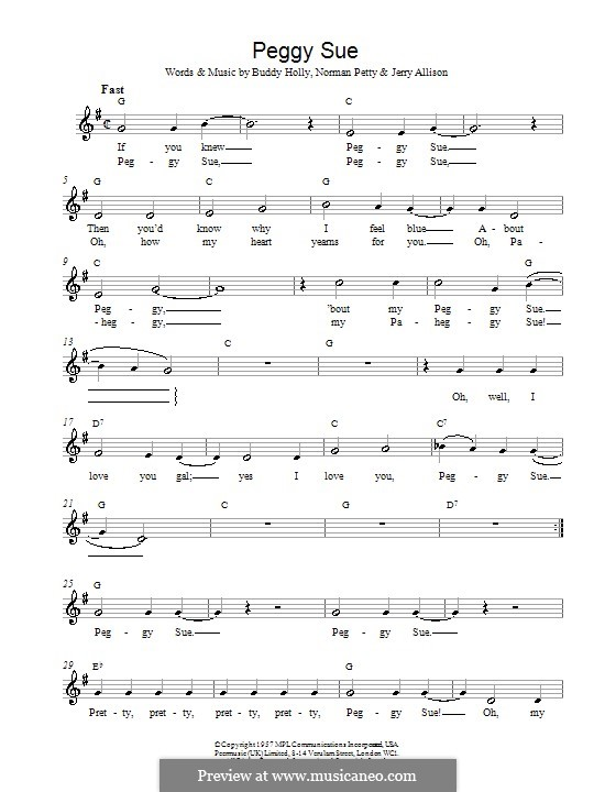 Peggy Sue By B Holly J Allison N Petty Sheet Music On Musicaneo