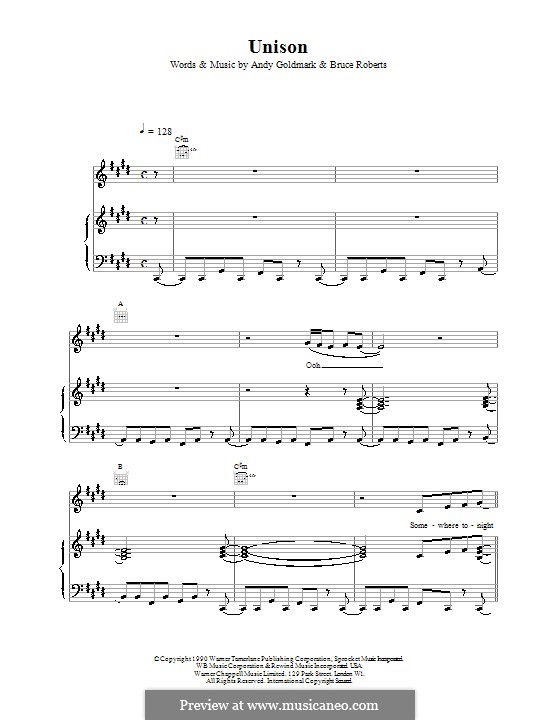 Unison (Celine Dion): For voice and piano (or guitar) by Bruce Roberts