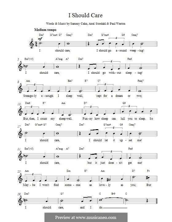 I Should Care: Melody line, lyrics and chords (Barry Manilow) by Axel Stordahl, Paul Weston, Sammy Cahn