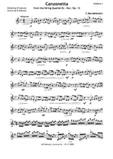 String Quartet No.1 in E Flat Major, Op.12: Movement II – violin part by Felix Mendelssohn-Bartholdy