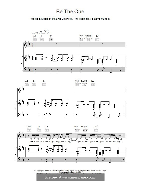 Be the One: For voice and piano (or guitar) by Melanie C