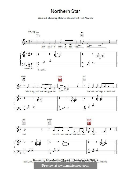 Northern Star: For voice and piano (or guitar) by Melanie C
