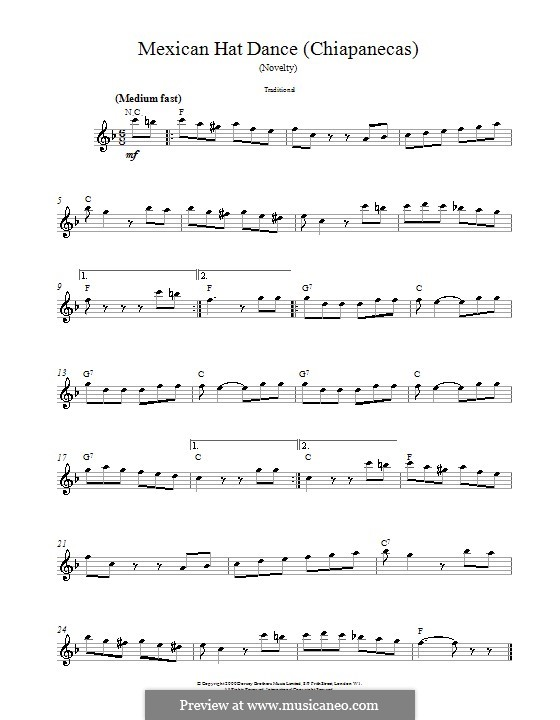 Mexican Hat Dance: Melody line, lyrics and chords by folklore