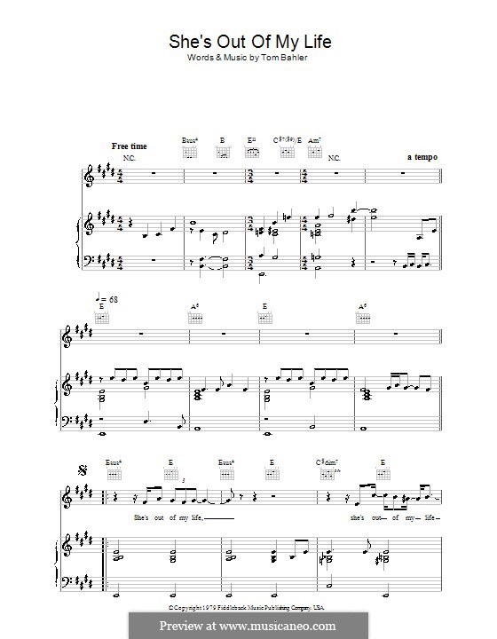 She's Out of My Life: For voice and piano or guitar (Michael  Jackson) by Tom Bahler