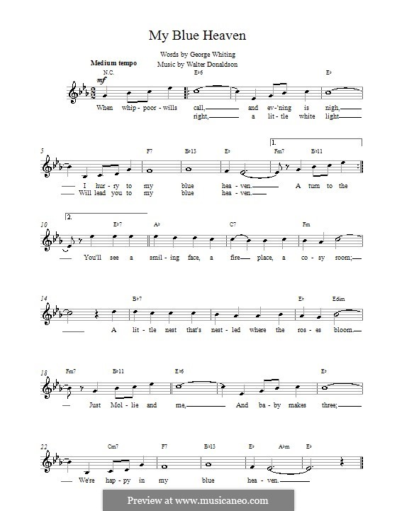 My Blue Heaven by W. Donaldson - sheet music on MusicaNeo