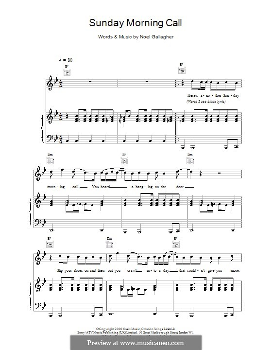 Sunday Morning Call Oasis By N Gallagher Sheet Music On Musicaneo