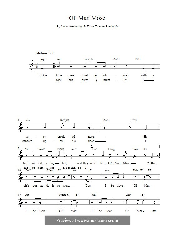 Ol Man Mose: Melody line, lyrics and chords by Louis Armstrong