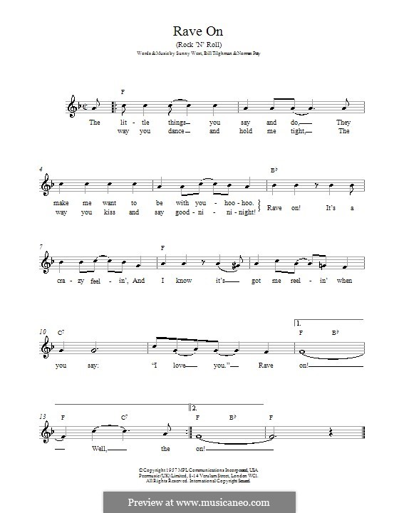 Rave On (Buddy Holly): Melody line, lyrics and chords by Bill Tilghman, Norman Petty, Sunny West