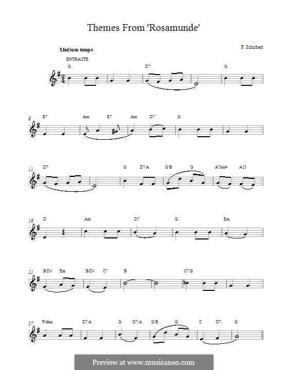 Fragments: Entr'acte (Theme), melody line by Franz Schubert