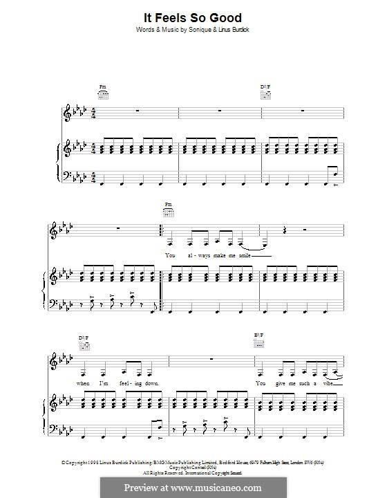 It Feels So Good (Sonique): For voice and piano (or guitar) by Sonia Clarke, Linus Burdick, Simon Belofsky