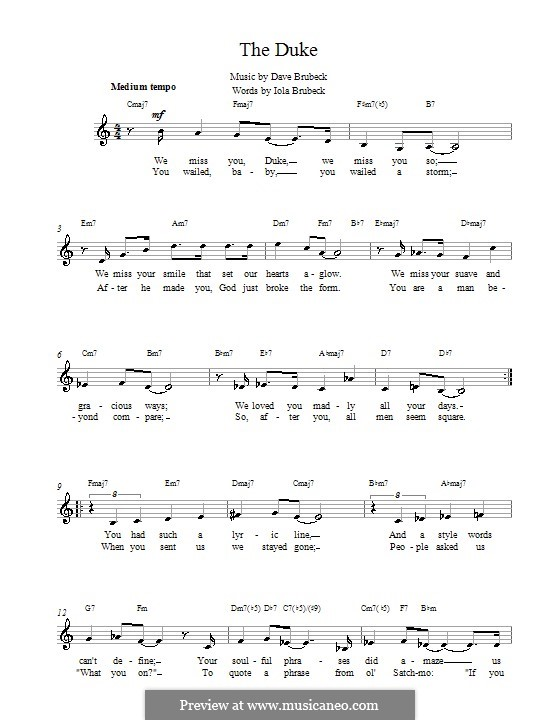 The Duke: Melody line, lyrics and chords by Dave Brubeck