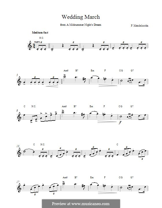 Wedding March: Melody line and chords by Felix Mendelssohn-Bartholdy