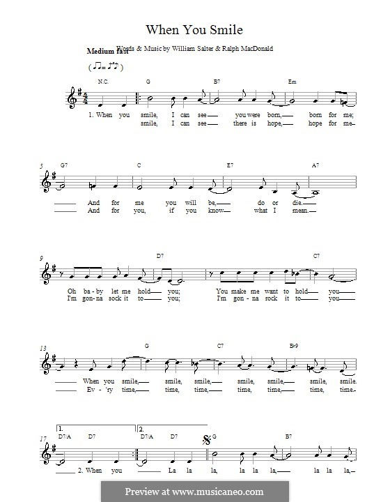 When You Smile By W Salter Sheet Music On Musicaneo