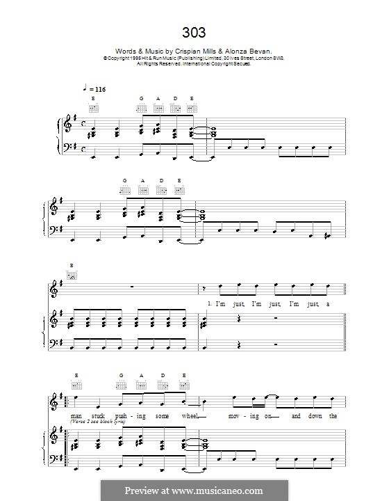 303 (Kula Shaker): For voice and piano (or guitar) by Alonza Bevan, Crispian Mills