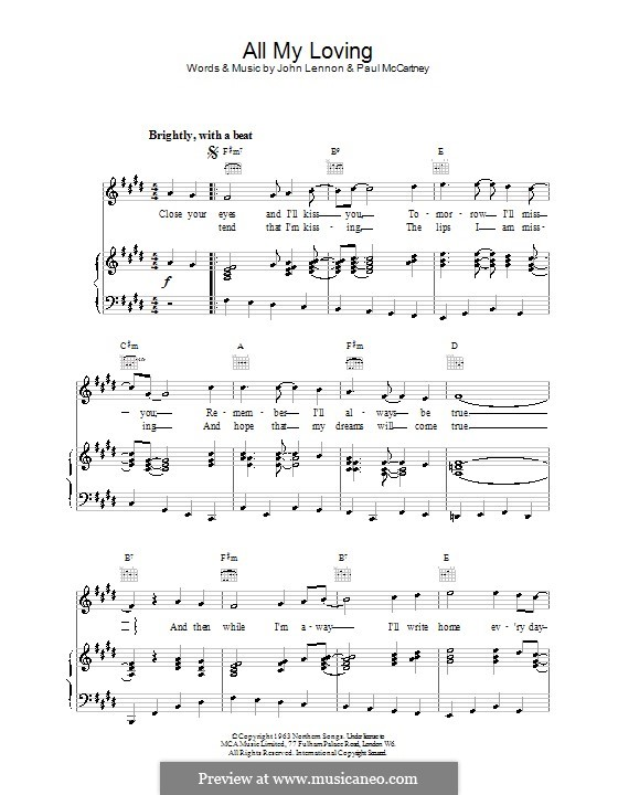 All My Loving (The Beatles): For voice and piano or guitar by John Lennon, Paul McCartney