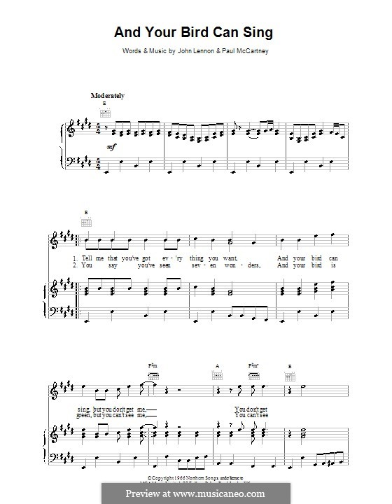 And Your Bird Can Sing (The Beatles): For voice and piano (or guitar) by John Lennon, Paul McCartney