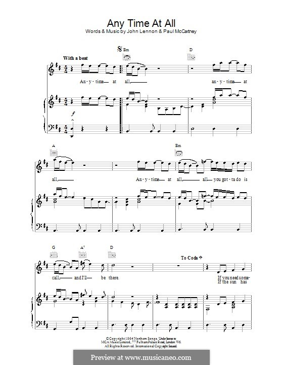 Any Time at All (The Beatles): For voice and piano (or guitar) by John Lennon, Paul McCartney