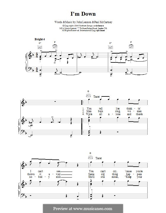 I'm Down (The Beatles): For voice and piano (or guitar) by John Lennon, Paul McCartney