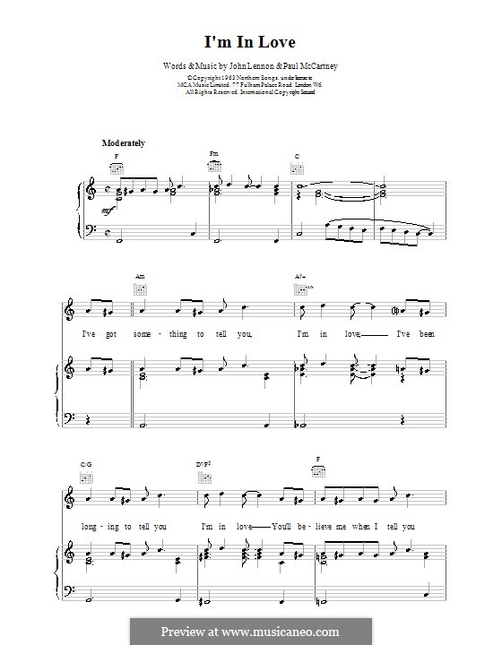 I'm in Love (The Beatles): For voice and piano (or guitar) by John Lennon, Paul McCartney
