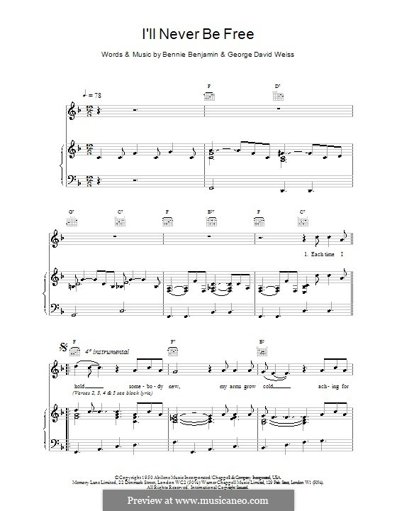 I'll Never Be Free (Van Morrison): For voice and piano (or guitar) by Bennie Benjamin, George David Weiss