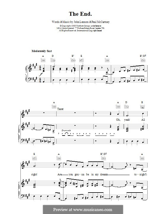 The End (The Beatles): For voice and piano (or guitar) by John Lennon, Paul McCartney